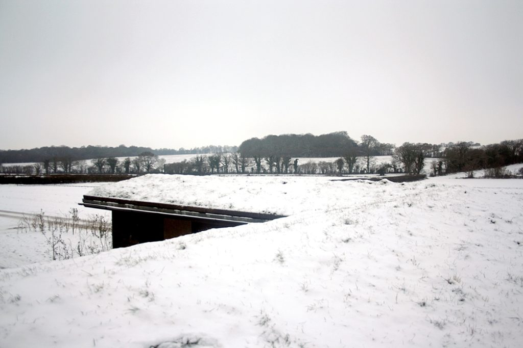 Wildflower Green stable roof in snow